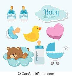 baby, iconen, set, versiering, douche