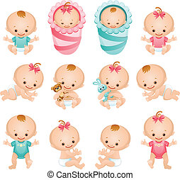 baby icons - Vector illustration - newborn baby icon set