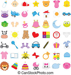 baby icons in color and isolated