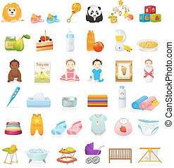 Baby icons newborn set. Baby stuff - Big set: Baby icons...