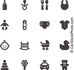 Baby icons on white background