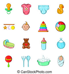 Baby icons set, cartoon style