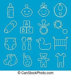 Baby icons set. Isolated on blue background.