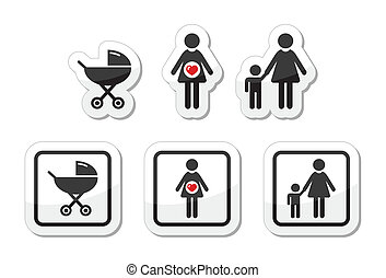 Baby icons set - parm, pregnancy, m - Family icons as labels...