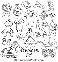 Baby icons, toys, clothes sketch