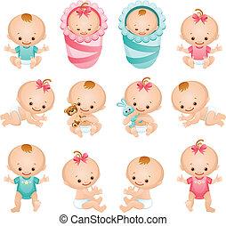 baby icons - Vector illustration - newborn baby icon set