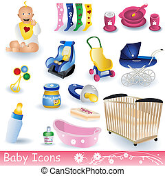 Baby Icons - Vector illustration of different colored baby...