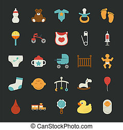 Baby icons with black background