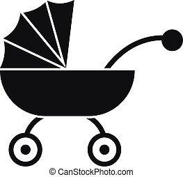 baby, ikon, vagn, stil, enkel