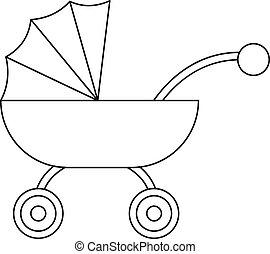 baby, ikon, vagn, stil, skissera