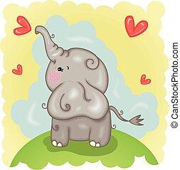 baby, illustratie, schattig, elefant