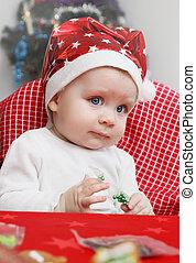 baby in a cap of Santa