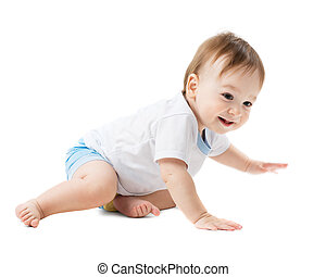 baby in a shirt crawling and laughing