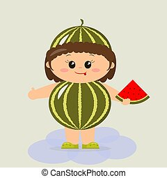 Baby in a watermelon suit.