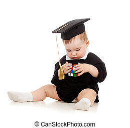 Baby in academician clothes with brainteaser - Baby in...