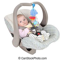 baby, in, barn, bil sittplats, isolerat, över, vit fond