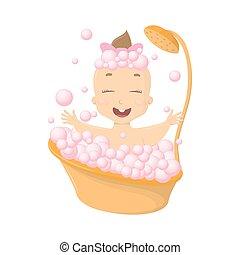 Baby in bath.