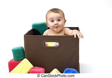Baby in Box with Toys