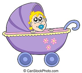 Baby in buggy - isolated illustration.