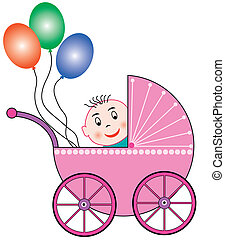 laughing baby looking out of a baby buggy and colored balloons