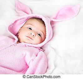 Baby in bunny costume