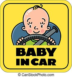 Baby in car. Back window sticker or sign
