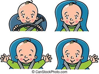 Baby in car icon set. Boy or girl in the seat