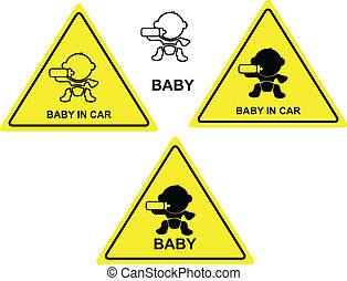 baby in car sign vector illustration