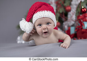 Baby in christmas hat