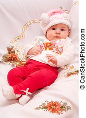 Baby in Christmas outfit - Baby in My First Christmas hat...