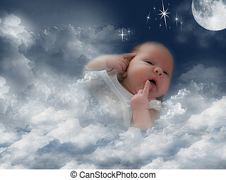 Baby in clouds - Little girl wrapped in a blanket of clouds.