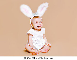 Baby in costume easter bunny