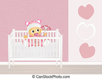 baby in cot - illustration of baby in cot