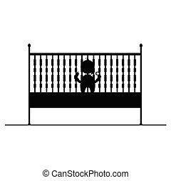 baby in crib symbol and icon vector illustration