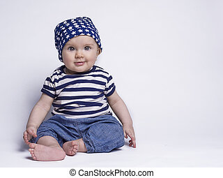 Smiling baby in cute outfit