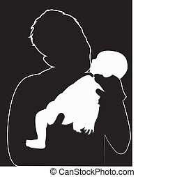 baby in dark hand, silhouette vecto
