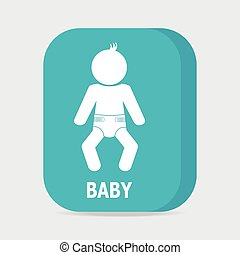 Baby in diaper icon, Vector illustration