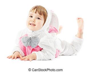 baby in easter bunny costume, kid girl as hare