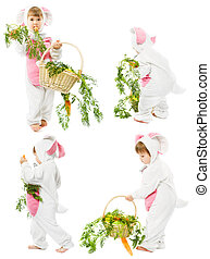 baby in easter bunny costume with fresh carrot bascet, kid girl as hare rabbit over white background