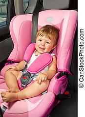baby, in, een, veiligheid, auto, seat.