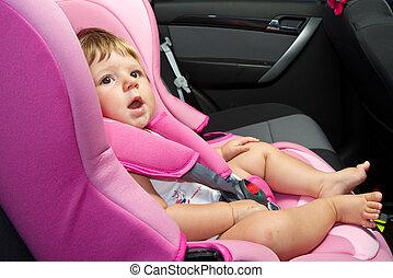 baby, in, een, veiligheid, auto, seat., veiligheid, een