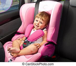 baby, in, een, veiligheid, auto, seat., veiligheid, en, veiligheid