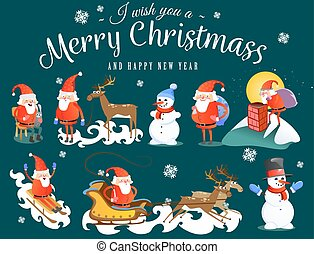 baby in hands of Santa Claus makes wish, man in red suit and beard with bag of gifts behind him climbs into chimney, sleigh reindeer harness drive Christmas mood, merry snowman vector illustration