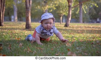 Baby in panama crawling on the grass in the park.