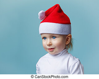 Baby in Santa hat New Year 2015