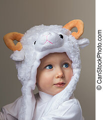 Baby in sheep hat New Year 2015