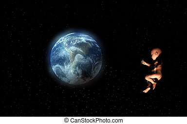 Baby In Space - A Baby floating in space representing new...