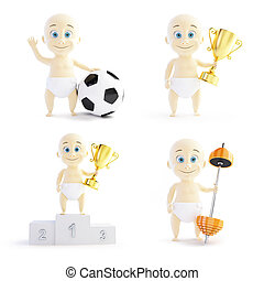 baby in sport set on a white background 3D illustration