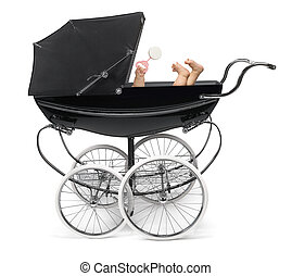 Baby in Stroller - Profile of traditional baby...