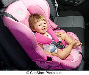 baby, ind, en, sikkerhed, automobilen, seat., sikkerhed, og, garanti
